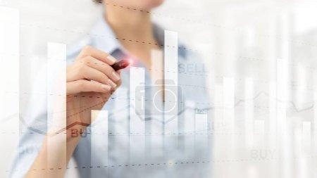 Photo pour Graphique de trading d'actions financières diagramme graphique concept de financement des entreprises double exposition techniques mixtes. - image libre de droit