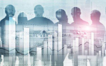 Photo pour Graphique sur les rangées de pièces. Graphique de trading d'actions financières diagramme graphique. Concept d'échange et de trading - image libre de droit