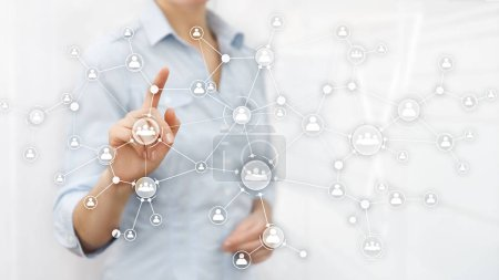 Photo pour Concept de gestion des ressources humaines RH structure organisationnelle mixte double exposition écran virtuel . - image libre de droit