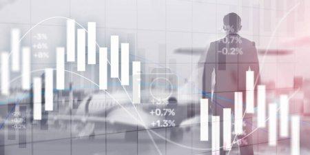 Photo pour Concept d'investissement financier. Graphique de trading boursier et graphique de chandelier. - image libre de droit
