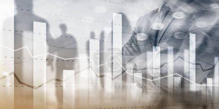 Photo pour Business team traders planification des investissements et analyse graphique trading boursier avec des données de graphique boursier - image libre de droit