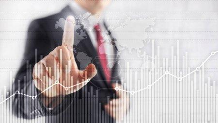 Photo pour Graphique de croissance du financement des entreprises analysant le concept de trading de diagramme et d'échange de devises en-tête de site Web à double exposition - image libre de droit