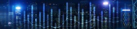 Photo pour Tableau de financement des entreprises moderne superposé sur Hong Kong Skyline la nuit. Flèche haut et bas - image libre de droit