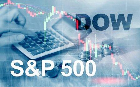 Mercado de valores americano. Sp500 y Dow Jones. Concepto de negocio financiero.