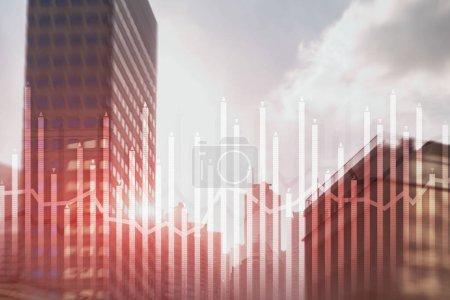 Photo pour Histogramme et lignes carte économique de l'instrument financier sur la métropole moderne. Flèches haut et bas - image libre de droit