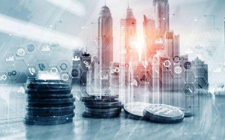 Photo pour Business Finance concept Double exposition Trading Stock Control panel Stratégie marketing - image libre de droit