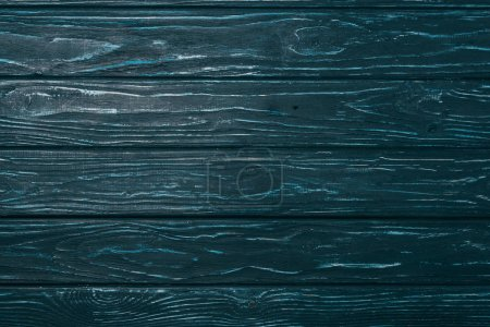top view of blue wooden planks surface for background