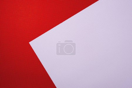 top view of red and white template with polka dot pattern for background
