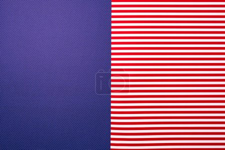 top view of red striped and blue dotted templates for background