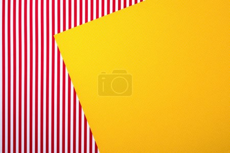 Photo for Top view of red striped and yellow dotted templates for background - Royalty Free Image