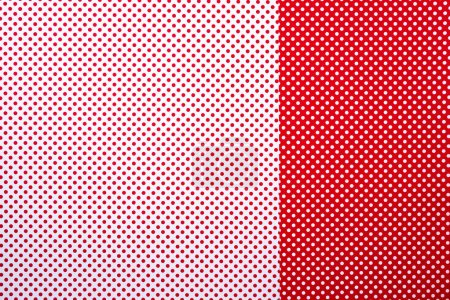 top view of red and white surface with polka dot pattern for background