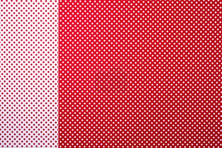 Photo for Top view of red and white colors abstract composition with polka dot pattern and stripes for background - Royalty Free Image
