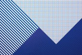 top view of abstract blue composition with stripes and dots for background