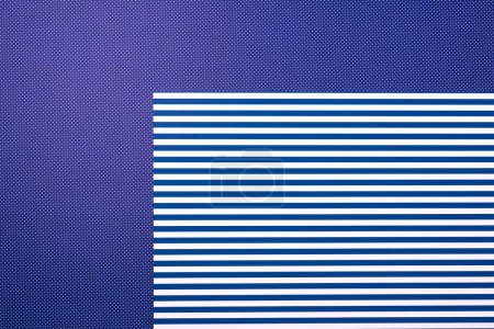 Photo for Top view of geometry blue composition with stripes and dots for background - Royalty Free Image