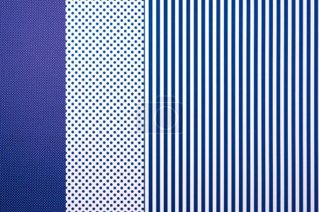 top view of blue composition with stripes and dots for background