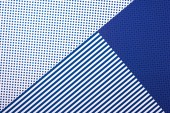 top view of artistic blue composition with stripes and dots for background