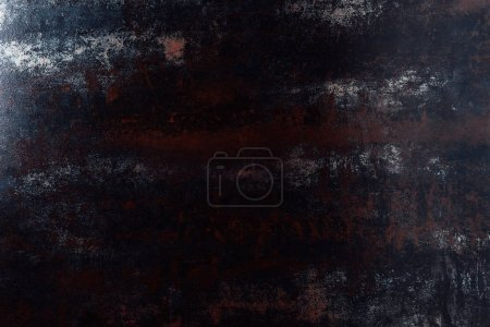 top view of grungy dark metal template for background