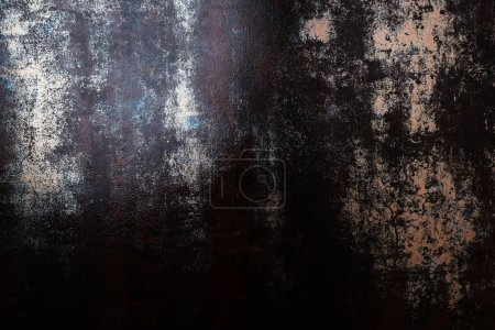 top view of grungy rusted metal template for background