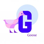 Cute children ABC  Letter G - Goose Animal zoo alphabet