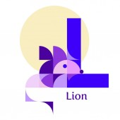 Cute children ABC Letter L - Lion Animal zoo alphabet