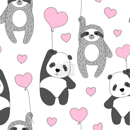 Illustration for Cute panda and sloth fly on balloons. Valentine's Day. Creative kids hand drawn texture for fabric, wrapping, textile, wallpaper, apparel. Vector illustration - Royalty Free Image