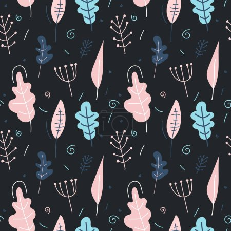 Illustration for Seamless pattern with plants on a dark background. Vector illustration in the Scandinavian style. Perfect for kids design, fabric, wrapping, wallpaper, textile, apparel, postcard, poster. - Royalty Free Image