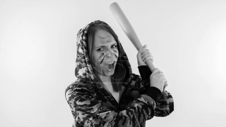 Photo for Young cute girl with baseball bat, Girl with a bat. girl or criminal woman, holding baseball bat in hand.  Sport and training - Royalty Free Image