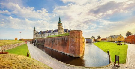 Panoramic view of fortifications with defense cannons and fortress walls in Kronborg castle. Helsingor, Denmark