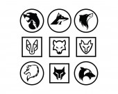 Silhouette of the wolf Vector logo wildlife Wild wolf Vector illustration