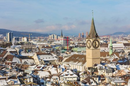 City of Zurich as seen from the tower of the Grossmunster cathed