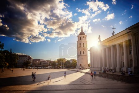 Vilnius, the capital of Lithuania, the cathedral square at sunset in the sun, travel to the Baltic countries