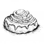 Bakery products Loaf of breadVector illustration foodCinnabon bun Hand drawn sketch of Sweet cinnamon roll