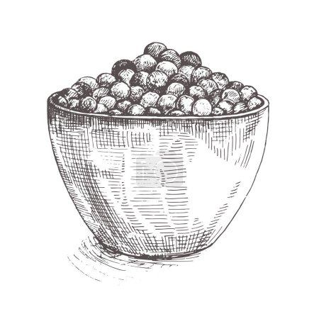 Illustration Chocolate flakes on the plate. Chocolate cereal balls sketch . Breakfast.