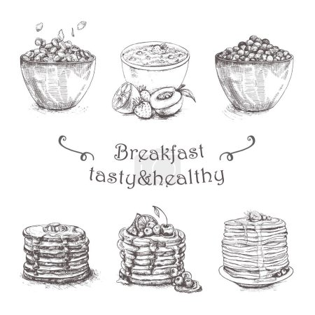 Illustration healthy breakfast bowl. Yogurt, granola, seeds, fresh and dry fruits and honey. Clean eating, dieting, detox, vegetarian food concept. Sketch Pancakes, cereal,oatmeal. Morning food menu.