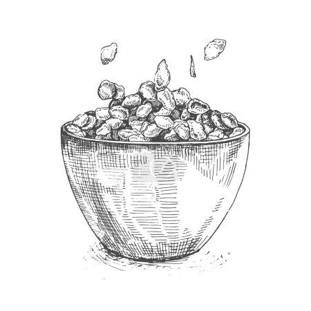 Illustration bowl of sugar-coated corn flakes.Sketch cereal.ketch porridge corn flakes and muesli isolated on white background.Set of porridge breakfast, healthy muesli organic drawing.