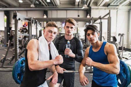 Photo for Young male friends in modern crossfit gym, standing and showing muscles. - Royalty Free Image