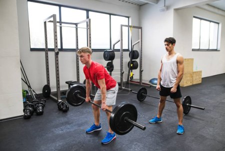 Photo for Young handsome fit men in gym working out, lifting bar of barbell, flexing muscles. - Royalty Free Image