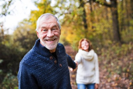 Photo for A portrait of an active senior couple walking in an autumn nature. - Royalty Free Image