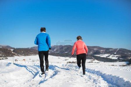 Photo pour Vue arrière du couple de personnes âgées jogging nature hiver neigeux. - image libre de droit