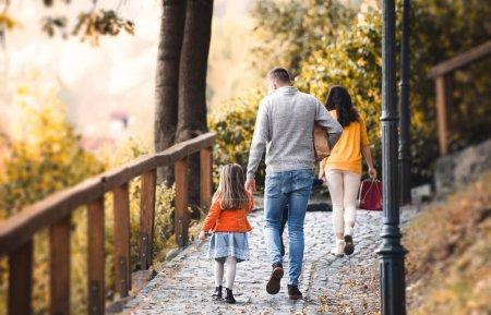 Photo pour Une vue arrière de la jeune famille avec deux enfants marchant dans le parc en automne . - image libre de droit
