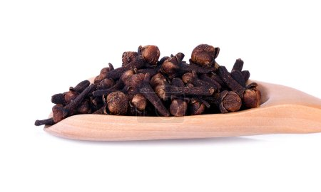 Close-up spicy dried clove, syzygium aromaticum flower buds in wooden spoon