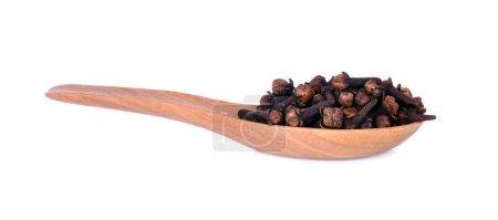spicy dried clove, syzygium aromaticum flower buds in wooden spoon