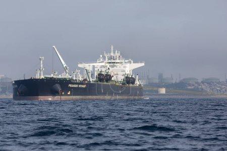 DECEMBER 5, 2018 - EL SEGUNDO, CALIFORNIA; The Pegasus Voyager, Chevron's crude oil tanker sits anchored offshore in El Segundo.