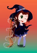 Halloween drawing Girl witch Chibi enchant the broom