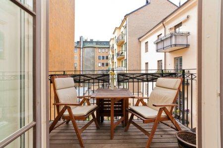modern cozy balcony on background