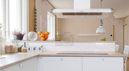 Photo for Fancy kitchen interior with checked floor - Royalty Free Image