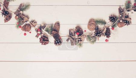 Foto de Navidad garlang con conos y Piceas ramitas aislado en blanco - Imagen libre de derechos