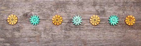 Photo for Springtime conceptual image background with copy space  flowers object on rustic wooden - Royalty Free Image
