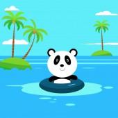 Flat panda swimming on the beach Flat Summer Background design Vector Beach Landscape