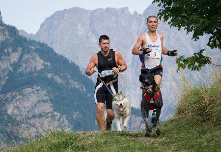 Photo pour FRANCE, VILLARD RECULAS. AOÛT 2015 : Deux Compétiteurs en Course avec Chiens sur le Chemin du Rhône Alpes, Trophée des Montagnes, La Course de Canicross la plus difficile - image libre de droit
